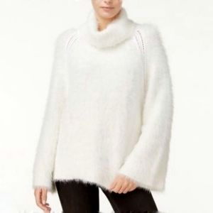 Rachel Roy Fuzzy turtleneck sweater white cream LG